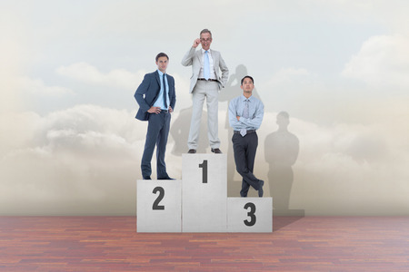 Composite image of business people on podium against clouds in a room