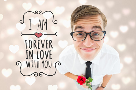 Romantic geeky hipster against valentines heart design