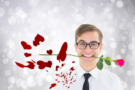 Romantic geeky hipster against twinkling white lights