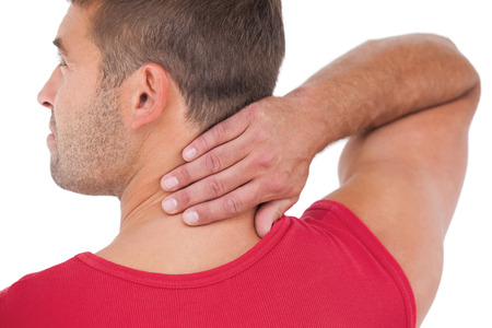 Fit man with injured neck on white background