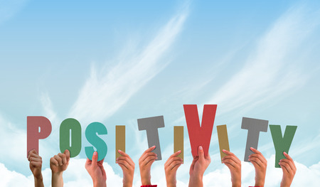 Photo pour Hands showing positivity against blue sky - image libre de droit