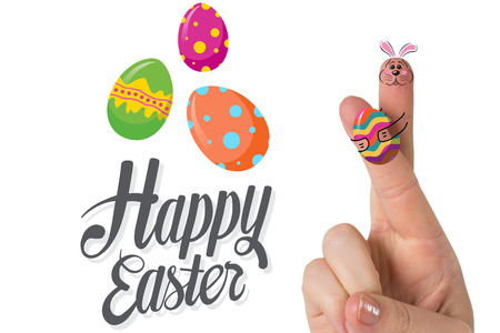 Fingers as easter bunny against happy easter