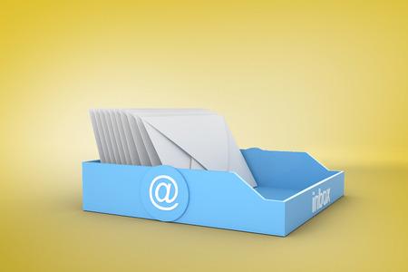 Blue inbox against yellow vignette