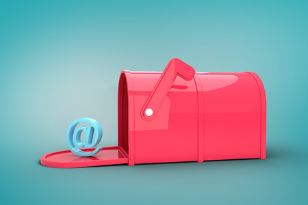 Red email post box against blue vignette background