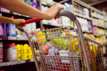 Photo pour woman buy products with her trolley at supermarket - image libre de droit