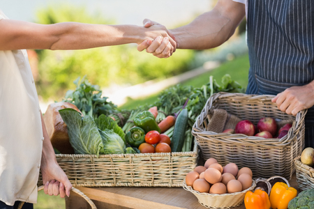 Photo for Close up view of a farmer and customer shaking hands - Royalty Free Image