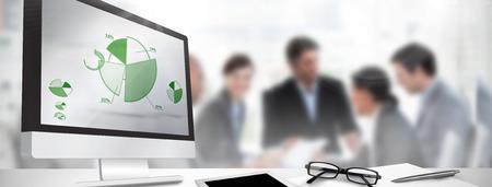 Photo pour Computer screen against percentages graphical representation - image libre de droit