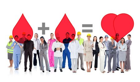 Large diverse group of workers against blood donation