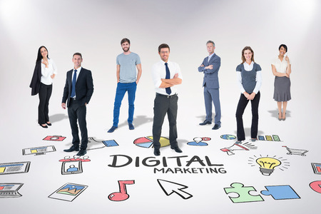 Business team against digital marketing
