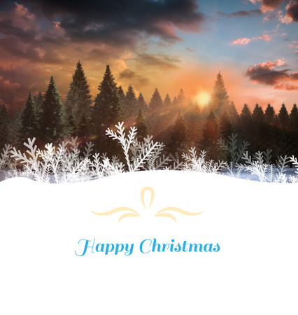 Christmas greeting card against fir tree forest in snowy landscape