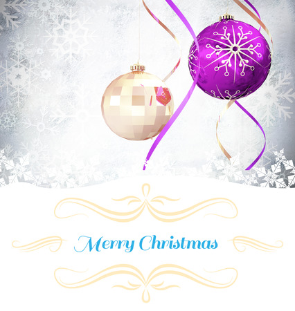 Christmas greeting card against hanging christmas decorations