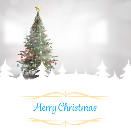 Christmas greeting card against christmas tree in bright room