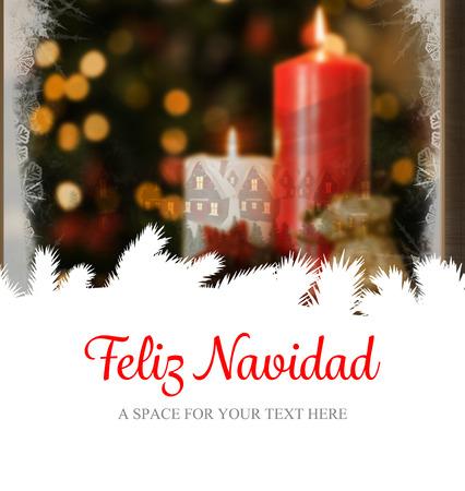 Feliz navidad against christmas home seen through frosty window