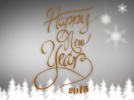 Happy new year message against blurred fir tree background