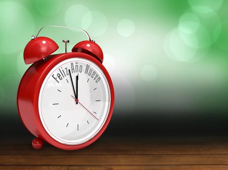 Feliz ano nuevo in red alarm clock against shimmering light design over boards