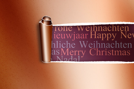 Rip in gold paper against holiday greetings in different languages