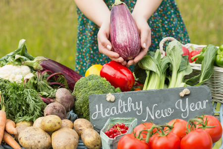 Photo for Healthy New Year against vegetables at farmers market - Royalty Free Image