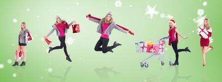 Stylish blonde holding shopping bags against green vignette