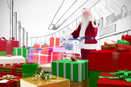 Santa delivering gifts from cart against white background with vignette