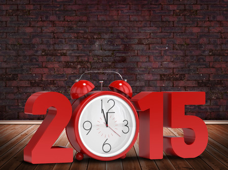 2015 with alarm clock against room with brick wall