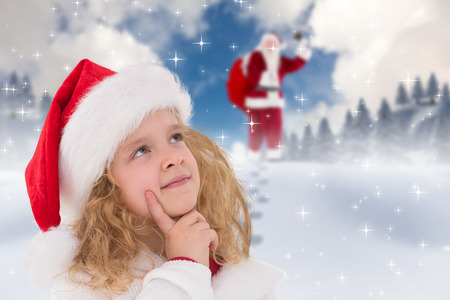 Festive little girl thinking and looking up against blue sky with white clouds