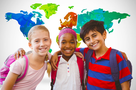 Little school kids in school corridor against white background with vignette