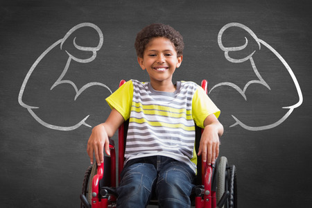 Photo pour Cute disabled pupil smiling at camera in hall against black background - image libre de droit