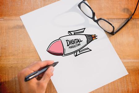Composite image of digital marketing rocket