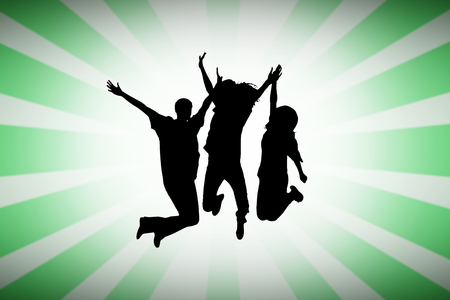 Silhouette of people jumping against linear design