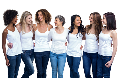 Photo for Happy multiethnic women standing together on white background - Royalty Free Image