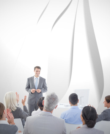 Businessman doing speech during meeting  against white wave design