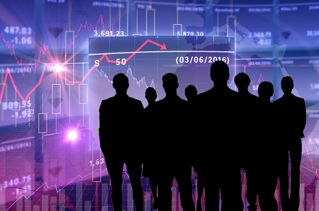 composite of business people with stock background