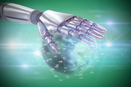 Silver metal robotic hand against green vignette