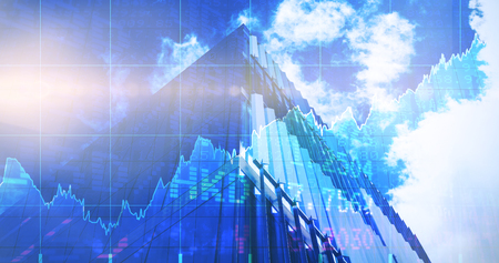 3D Stocks and shares against low angle view of office building on sunny day