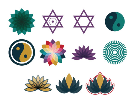 Vector icon set for symmetric geometry shapes on white background