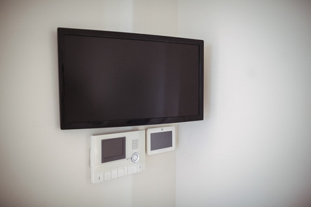 Interior view of LED television at home