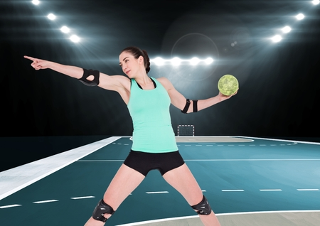 Digital composition of female handball player throwing ball at handball court