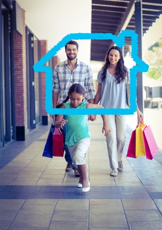 Digital composition of happy family with shopping bag laid with house shape walking in corridor