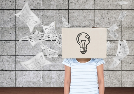 Digital composition of woman covered her face with a cardboard box showing light bulb and documents falling in background
