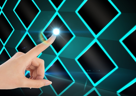 Hand of woman pretending to touch flare against digitally generated pattern background
