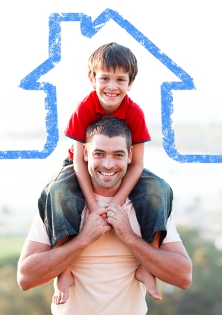 Digital composition of a father carrying son on his shoulders overlaid with house shape