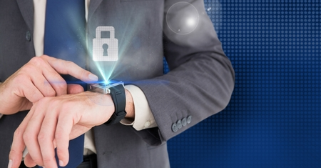 Digital composition of businessman using smart watch with digital lock interface
