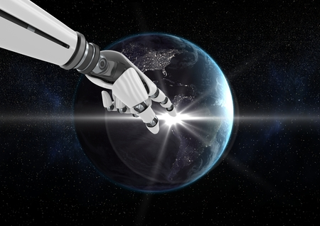 Digitally generated image of robot hand touching globe against black background