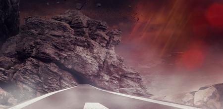 Dark background against dark road landscape