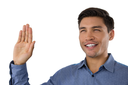 Close up of businessman waving hand against white background