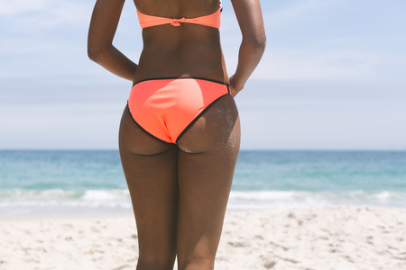 Photo for Rear view of African-american woman posing while standing on beach on a sunny day - Royalty Free Image