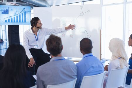 Photo pour Front view of caucasian Businessman giving presentation on flip chart in business seminar at conference meeting. International diverse corporate business partnership concept - image libre de droit