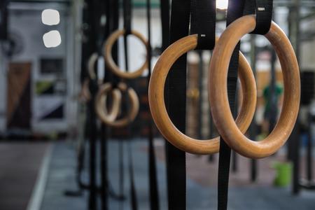 Photo pour Gymnastics Rings in the gym - Close Up Selective Focus - image libre de droit