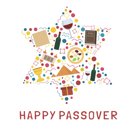Illustration for Passover holiday flat design icons set in star of david shape with text in english Happy Passover.  - Royalty Free Image