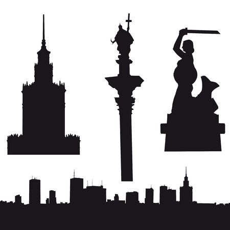 Silhouette of Warsaw in Poland- panorama, Palace of Culture and Since, Sigismund